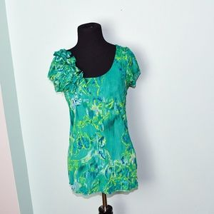 Beautiful Seafoam Green Printed Blouse